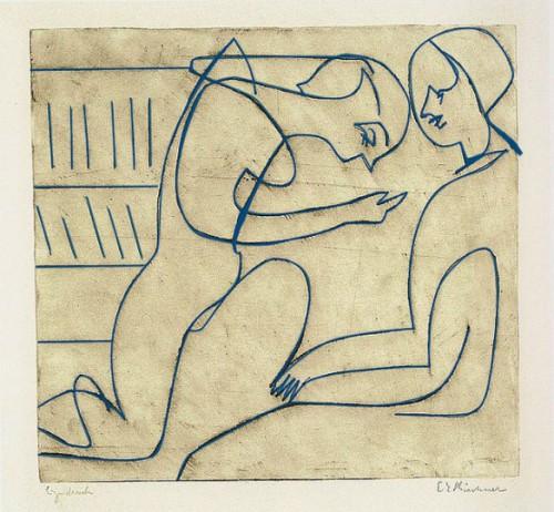 Ernst Ludwig Kirchner - <i>Paar in der Bibliothek</i> - 1930