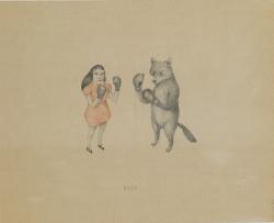 Joanna Concejo, La boxe, 2013  Graphite, crayon de couleur sur papier ancien, 49,6 x 39,9 Courtesy de l'artiste
