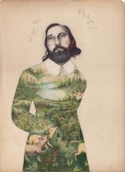 Le portrait d'un homme en buste dessiné au crayon. Son habit est composé d'une image champêtre