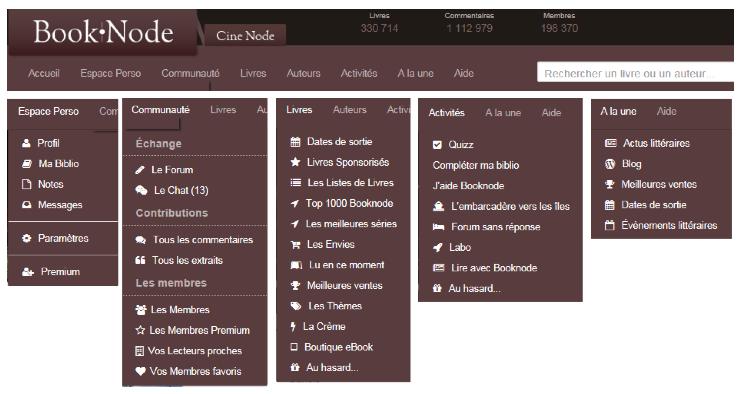 Capture d'écran du site Booknode, sur laquel on peut voir les différents espaces disponibles sur le site