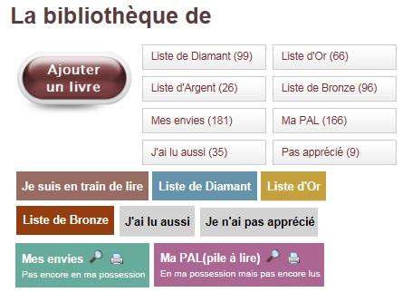 Capture d'écran du site Booknode, sur laquelle on peut voir la bibliothèque virtuelle du site
