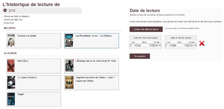 Capture d'écran du site Booknode sur laquelle on peut voir l'historique de lecture personnel des utilisateurs