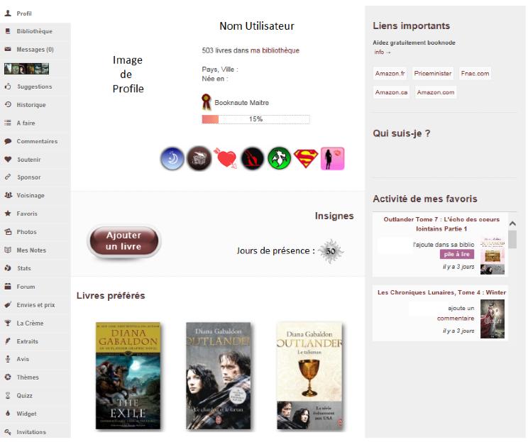Capture d'écran sur laquelle on peut voir la page de profil personnalisé