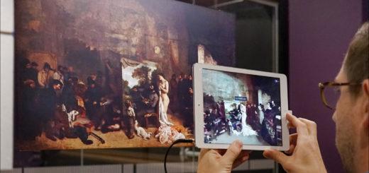 """""""L'Atelier du peintre"""". """"Allégorie réelle déterminant une phase de sept années de ma vie artistique et morale"""" Oeuvre de Gustave Courbet (1854-1855) huile sur toile en cours de restauration sur place"""